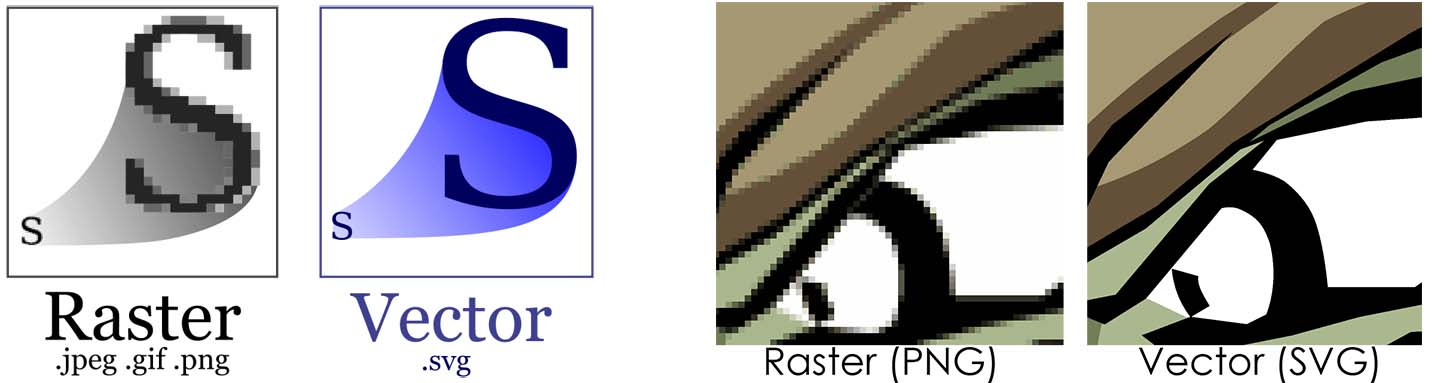 Difference between a bitmap or raster image and a vector graphic
