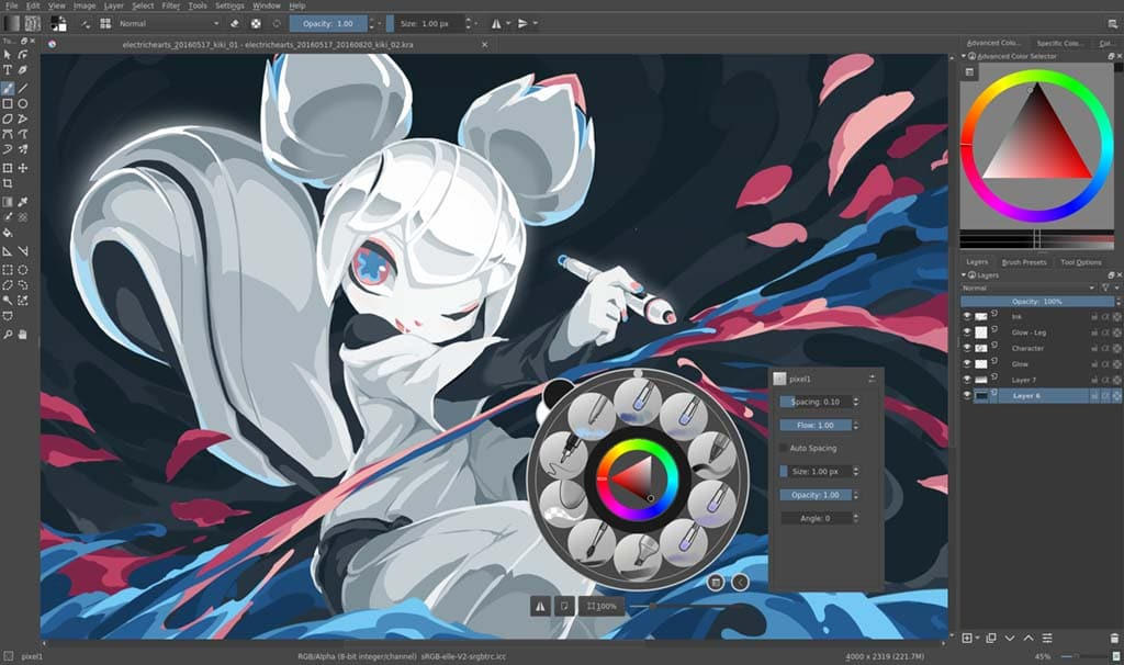 Krita is a powerful and free and open-source drawing program