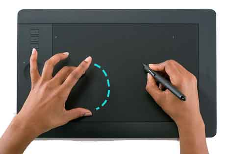 Multi-touch functionality in drawing tablets
