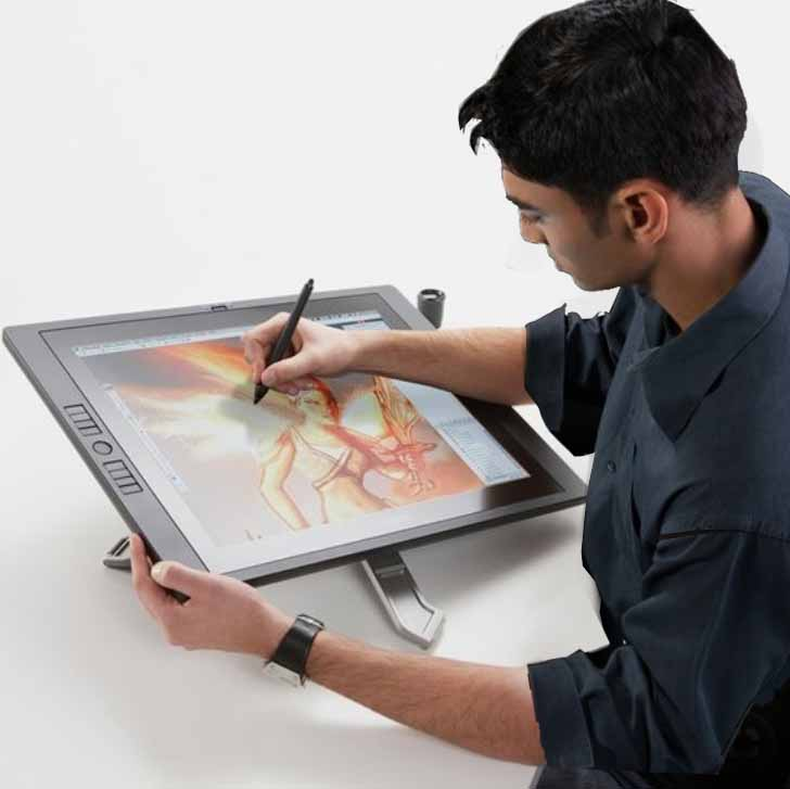 Drawing on a Cintiq 22HD (notice the rotatable stand)