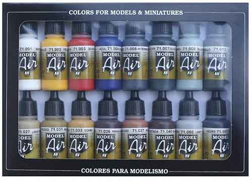 Set de 16 colores de pinturas para modelismo con aerógrafo Vallejo Model Air