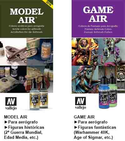 Comparaicón entre pinturas acrílicas para aerógrafo: Vallejo Model Air vs Vallejo Game Air