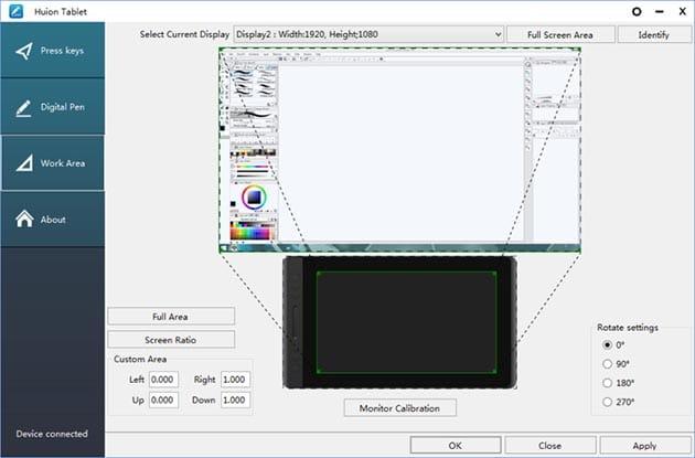 Calibración y mapeado de una tableta gráfica al monitor